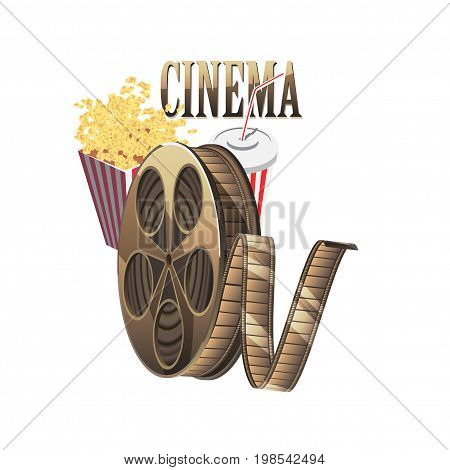 Cinema concept poster template with popcorn bowl, film strip. isolated on white background