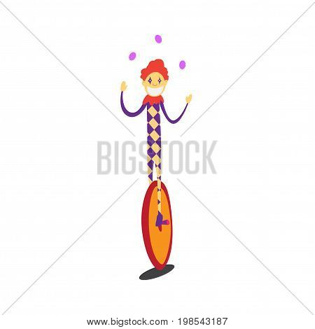 clown juggles on a unicycle. circus performances presentation show isolated on white background