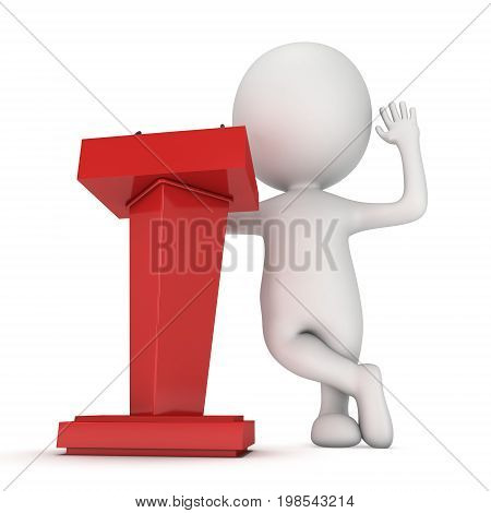 3d Speaker Podium and small man. Tribune Rostrum Stand with Microphones. 3d render isolated on white background. Debate, press conference concept poster
