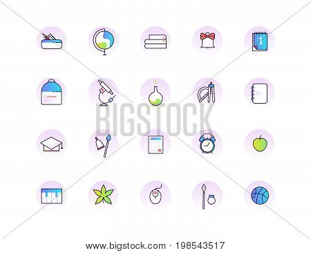 Back To School Line Icon Set. Education Vector Collection.