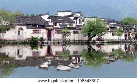 Moon Lake in Hongcun Village, China. Hongcun is ancient village in Anhui Province near the southwest of Mount Huangshan
