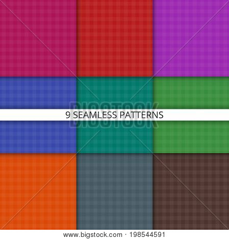 Geometric seamless pattern. Set of checkered tablecloths. Vector illustration.