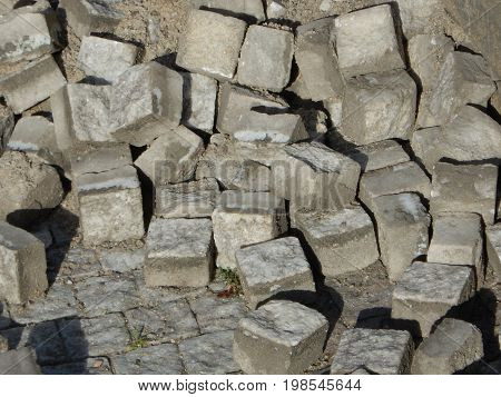 Heap Of Grey Cobbles For The Reconstruction Of Road