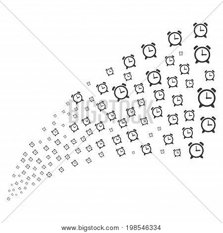 Source stream of alarm clock icons. Vector illustration style is flat gray iconic alarm clock symbols on a white background. Object fountain combined from pictographs.