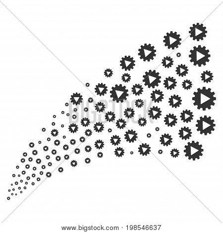 Fountain of automation icons. Vector illustration style is flat gray iconic automation symbols on a white background. Object fountain organized from design elements.