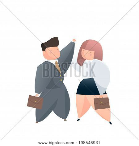 two business people with suit high five together outdoors
