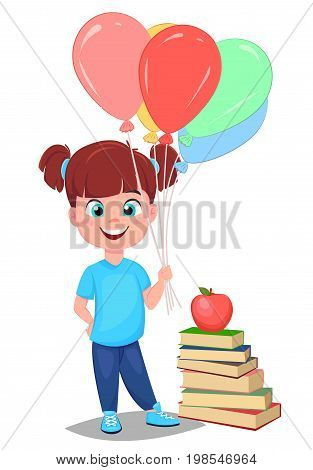 Back to school. Cute girl in casual clothes with helium balloons standing near stack of book. Pretty little schoolgirl. Cheerful cartoon character. Vector illustration