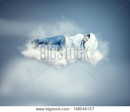 Man floating air while sleeping on a cloud.