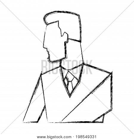 portrait of businessman gesturing shows something vector illustration