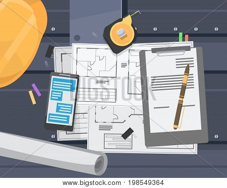 technical engineering drawing plan. architectural drawings and drawing tools