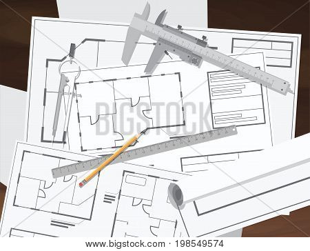 Architecture technical engineering drawing plan. Architectural drawings and drawing tools