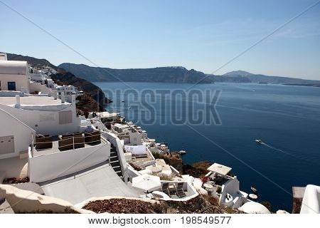 Santorini Island, View Of The Caldera From The Village Of Oia.