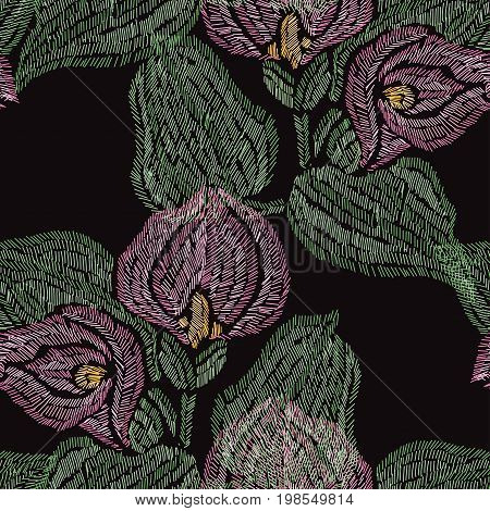 Elegant seamless pattern with hand drawn decorative calla flowers design elements. Floral pattern for invitations cards wallpapers print gift wrap manufacturing fabrics. Embroidery style