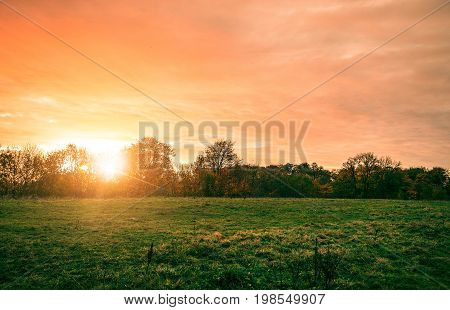 Rural Landscape With A Beautiful Countryside Sunset