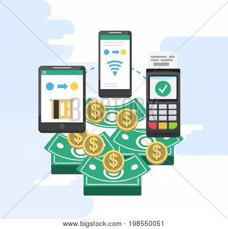 Mobile payments and near field communication. Transaction and paypass and NFC holding phone. Vector illustration