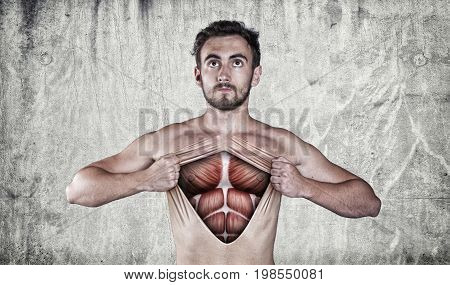 Man ripping off his chest skin to show off muscle anatomy.