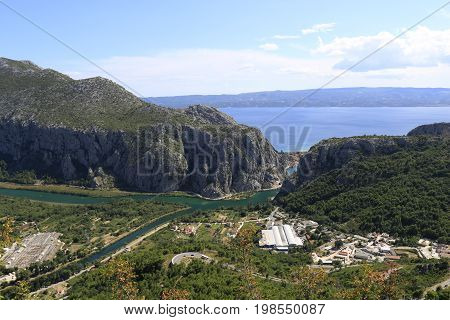 The mouth of the river Cetina in the town Omis