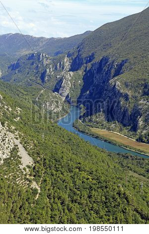 Stream of Cetina River through canyons and cliffs