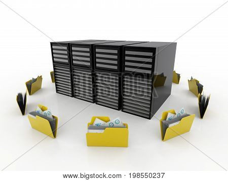 3d illustration of Data sharing concept, folder connected with computer isolated in white background.