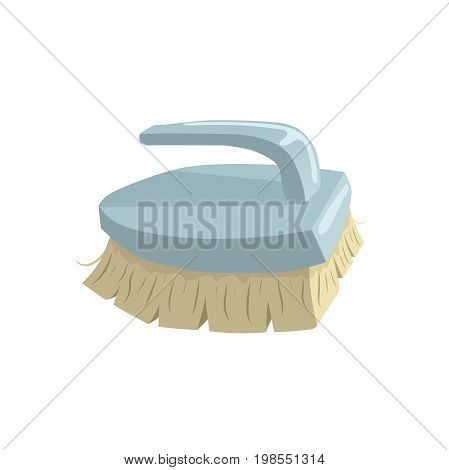 Cartoon vintage trendy icon of cleaning bristle brush. Housework vector simple gradient icon. Blue handle.
