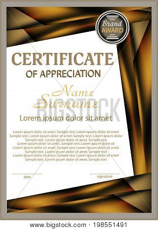 Vertical template certificate of appreciation with decorative elements. Vector illustration.