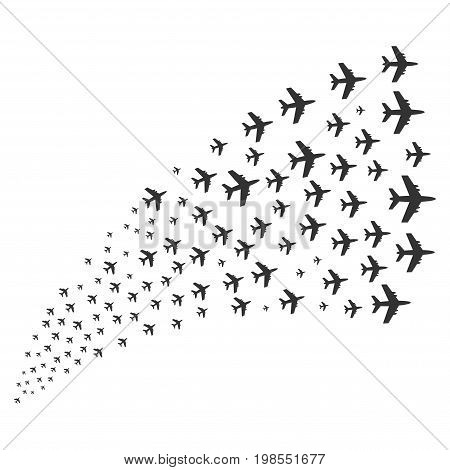 Source of jet plane icons. Vector illustration style is flat gray iconic jet plane symbols on a white background. Object fountain organized from design elements.