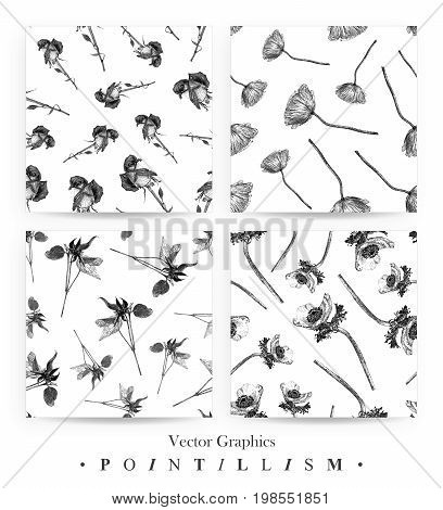 Set of seamless patterns with anemone poppy clematis and hybrid tea rose isolated on white background drawn by hand. Graphic drawing pointillism technique. Botanical natural collection. Black and white floral illustration