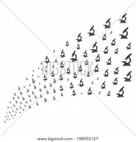 Source stream of microscope symbols. Vector illustration style is flat gray iconic microscope symbols on a white background. Object fountain combined from design elements.