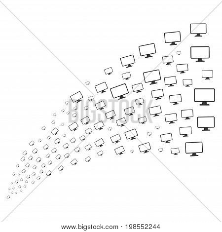 Stream of monitor icons. Vector illustration style is flat gray iconic monitor symbols on a white background. Object fountain constructed from pictographs.