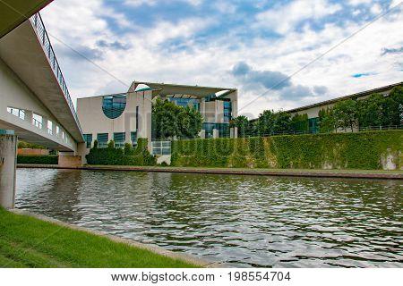 GERMAN CHANCELLERY BERLIN - JULY 2017. Rear view of the German Chancellery building in Berlin