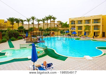 Sharm El Sheikh, Egypt - April 13, 2017: The pool at luxury hotel AURORA at Sharm El Sheikh, Egypt on April 13, 2017