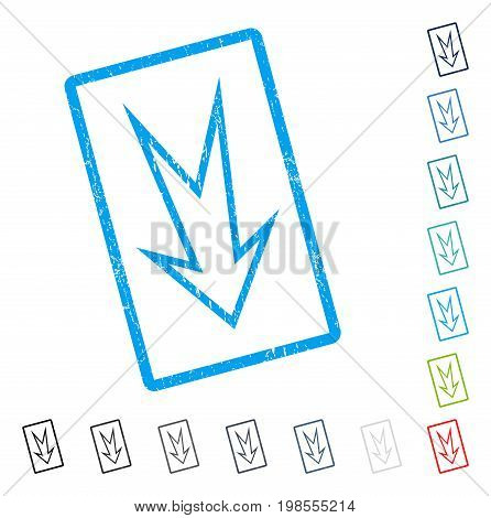 Arrow Down rubber watermark in some color versions.. Vector icon symbol inside rounded rectangle with grunge design and dirty texture. Stamp seal illustration, unclean sign.
