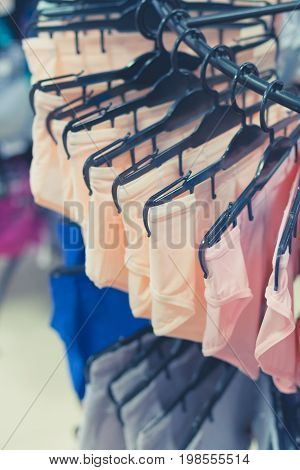 Boutique sale women underwear clothes. Big shopping mall on Bali island.