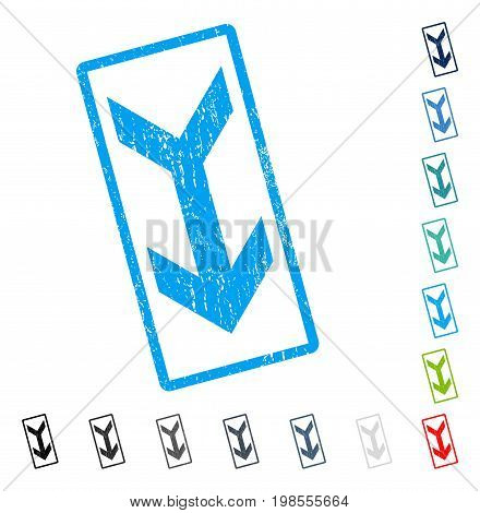 Arrow Down rubber watermark in some color versions.. Vector pictogram symbol inside rounded rectangle with grunge design and scratched texture. Stamp seal illustration, unclean emblem.