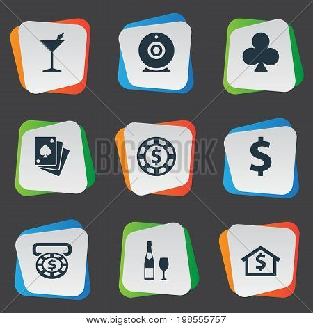 Elements Casino, House, Drink And Other Synonyms Sign, Whiskey And Cross.  Vector Illustration Set Of Simple Casino Icons.