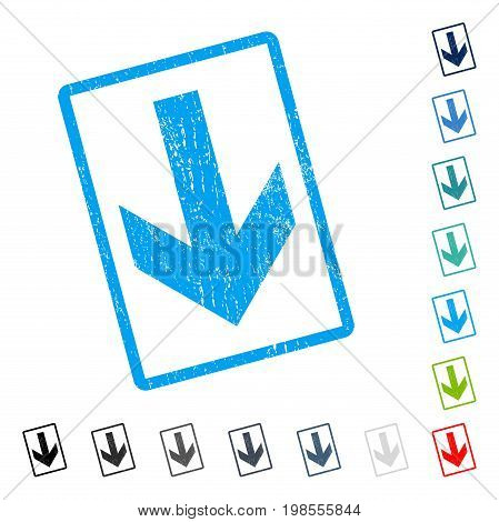 Arrow Down rubber watermark in some color versions.. Vector pictogram symbol inside rounded rectangle with grunge design and dust texture. Stamp seal illustration, unclean sticker.