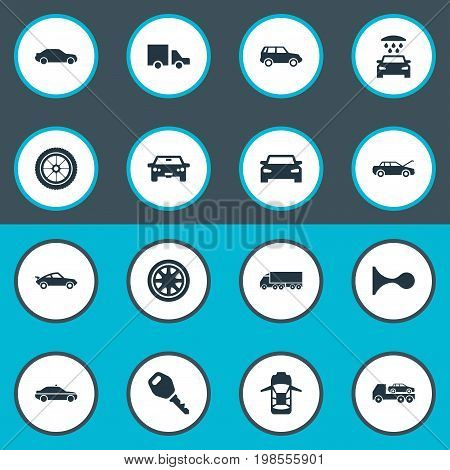 Elements Lorry Stop, Auto, Transport Cleaning And Other Synonyms Police, Shower And Road.  Vector Illustration Set Of Simple Transport Icons.