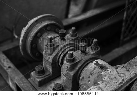 Old sand washing machine in Black and White