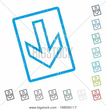Arrow Down rubber watermark in some color versions.. Vector pictogram symbol inside rounded rectangular frame with grunge design and dirty texture. Stamp seal illustration, unclean sticker.