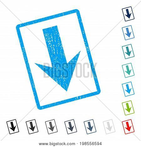Arrow Down rubber watermark in some color versions.. Vector pictogram symbol inside rounded rectangular frame with grunge design and dust texture. Stamp seal illustration, unclean emblem.