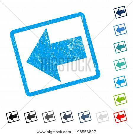 Arrow Left rubber watermark in some color versions.. Vector icon symbol inside rounded rectangular frame with grunge design and scratched texture. Stamp seal illustration, unclean sticker.