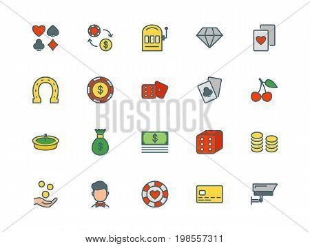 Casino set of thin line flat icons