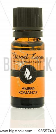 Winneconne WI - 6 August 2017: A bottle of Eternal Essence fragrance oil in amber romance scent on an isolated background.