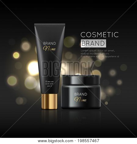 A Beautiful Cosmetic Templates For Ads, Realistic 3D Black Matte Tube And Cosmetic Jar Ready For Des