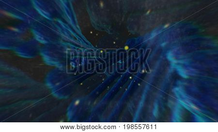 Enigmatic 3d rendering of a futuristic looking universe with clubbed lines sinister smoke and bright spots in the dark blue background.The illustration looks unusual and fine