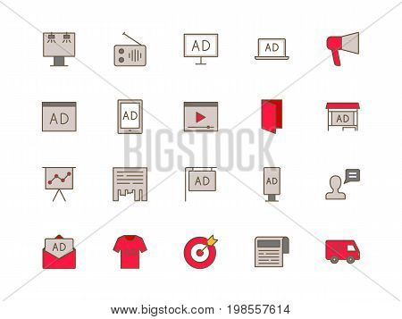 Advertising set of thin line flat icons
