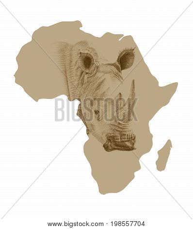 Map of Africa with pictures of drawn rhino