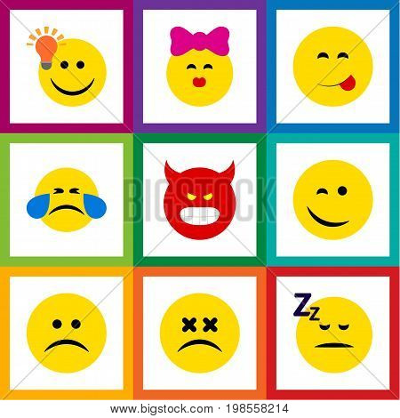 Flat Icon Expression Set Of Asleep, Caress, Pouting And Other Vector Objects