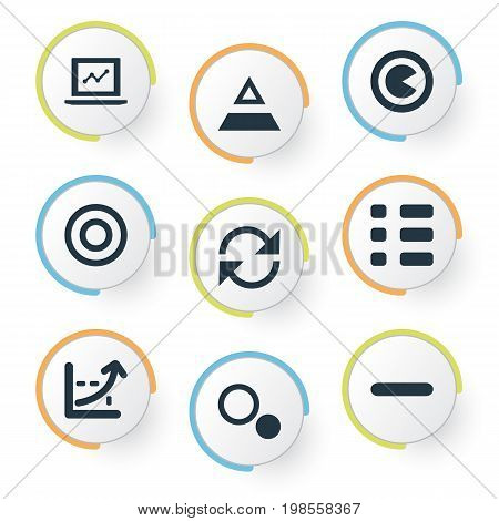 Elements Minus, Segment, Component And Other Synonyms Increase, Triangle And Minus.  Vector Illustration Set Of Simple Analytics Icons.
