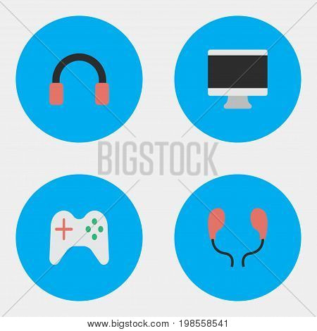 Elements Gamepad, Headphone, Screen And Other Synonyms Gamepad, Headset And Earmuff.  Vector Illustration Set Of Simple Devices Icons.